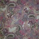 Bomulds-voil m/blomster/sjalsmønster, hvid/lyselilla