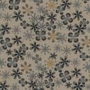 Rest Let bomuld m/blomster, beige/sort/grå 30 cm.