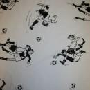 Rest Bomuld m/fodbold-spiller hvid/sort, 155 cm.
