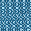Bomuld mønstret petrol-blå/hvid