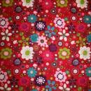 Rest Bomuld blomster og fugle, pink turkis rosa, 50 cm.