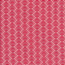Bomulds-poplin med buer rød hvid