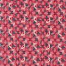 Bomuld med roser og firkanter i koral-rød