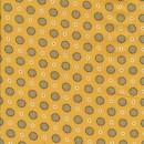 Bomuldspoplin med blomster og cirkler i støvet gul
