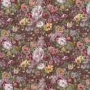 Blomstret bomuld brun gammelrosa og grå-pudder