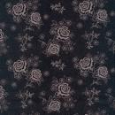 Bomulds satin med prikker og blomster i sort og pudder-rosa