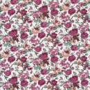 Bomulds-poplin med blomster offwhite og gammel rosa