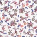 Let Bomulds-voil i hvid med blomster og sjalsmønster