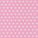 Bomuld-polyester lyserød med hvide hjerter