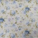 Bomuld/polyester i sart lysegrøn med blomster, 280 cm.