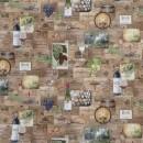Bomuld m/digitalt print med vinkasser, vin, druer