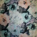 Rest Cowboy m/stræk & blomster, lys turkis/laks/sort- 100 cm. med fejl