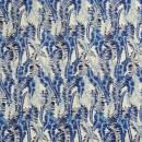 Bomuldssatin med stræk og bladranker i hvid og blå