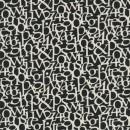 Rest Hør sort hvid med bogstaver, 140 cm.