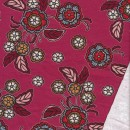 Isoli med stræk i hindbærrød med blomster