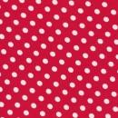 Bomuld/lycra økotex med prikker, rød/hvid