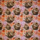 Afklip Bomuld/lycra økotex digitalt tryk, kattekilling gylden lyserød 40x60 cm.