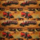 Afklip Bomuld/lycra økotex m/digitalt tryk, m/traktor, orange - rød 40x60 cm.