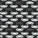 Bomuldsjersey økotex med biler i sort, grå og hvid