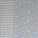 Rapport Bomuldsjersey økotex lyseblå med gris 63x150 cm.