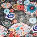 Afklip Bomuldsjersey økotex m/digitalt tryk med mønstrede cirkler i sort rød 40x60 cm.
