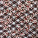 Bomuld/lycra økotex m/digitalt tryk med skrå tern og blomster