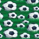Bomuld/lycra økotex digitalt tryk med fodbolde og græs