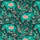 Bomuld/lycra økotex m/digitalt tryk med elefanter i flaskegrøn - irgrøn