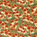 Rest Patchwork stof med stedmoderblomster i grøn og orange- 30 cm.