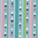 Afklip Patchwork stof med striber og knapper lys turkis 50x55 cm.