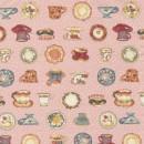 Rest Patchwork stof i rosa med kopper, 25 cm.