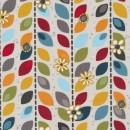 Patchwork stof med striber af blade i kit, blå og orange