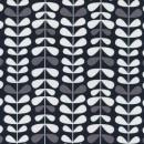 Afklip Patchwork stof med bladranker i sort, grå og hvid 50x55 cm.