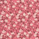 Bomulds-poplin med blomster koral brun off-white