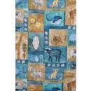 Patchwork stof i blå, khaki, gul med dyr