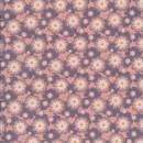 Patchwork stof med blomster i rosa, babylyserød og grå-lyng