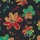 Rest Satin sort m/blomster, 110 cm.