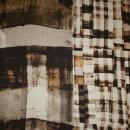 Satin m/firkant-print sand/brun/gylden