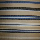 Strik i viskose polyester med striber i sand off-white klar blå