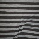 Ribstrikket jacquard uld stribet i mørkegrå og lysegrå