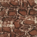 100% viskose med slange print i rødbrun sort offwhite