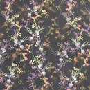 100% viskose twill-vævet i sort med blomster
