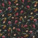 Crepé viscose digital print i sort med blomster