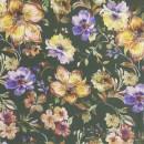 100% viskose twill-vævet i army-grøn med blomster