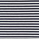 Stribet øko-viscose/lycra, mørkeblå/hvid, 6 mm.