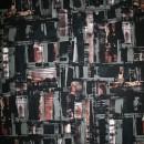 Rest Viscose/lycra mønstret sort/grå-grøn/rød-brun, 100 cm.