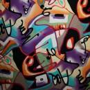 Rest Viskose jersey med graffiti-look multifarvet, 25-33 cm.