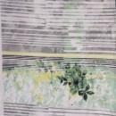 Afklip Viscose/lycra m/digitalt print med strib og blomst i hvid grå mint- 90 cm.