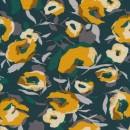 Viscose jersey med blomster i flaskegrøn carry