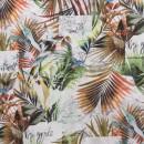 Viscose Jersey digitalprint med palmeblad og fugl